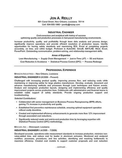 industrial engineering internship resume objective resume exle industrial engineering careerperfect com