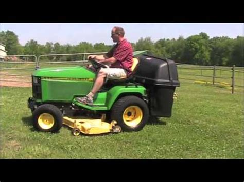 lawn mower with bagger for sale john deere 445 lawn tractor power bagger for sale youtube