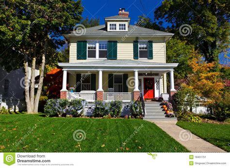 single family house prairie style home autumn fall stock