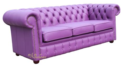Chesterfield Settees by Chesterfield 3 Seater Settee Wineberry Purple Leather Sofa