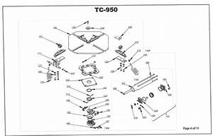 TC-950 Parts Breakdown - Red Machine Diagrams of Wheel