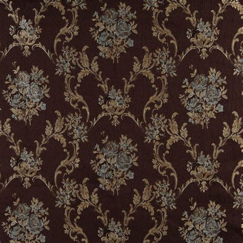 Floral Upholstery Fabric by A0014f Brown Light Blue Gold And Ivory Floral Upholstery