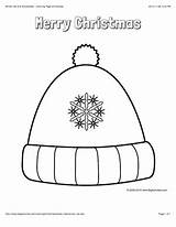 Coloring Winter Hat Christmas Pages Hats Merry Decorated Words Snowflakes Printable Bigactivities Hanukkah Features Snowflake Sheets sketch template