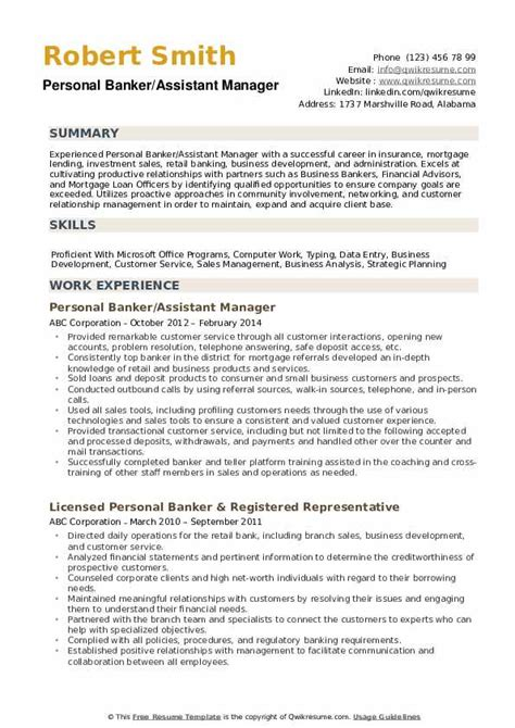 Personal Banker Objective by Personal Banker Resume Sles Qwikresume