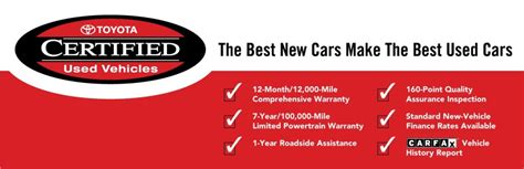 Toyota Certified Pre Owned Warranty by Certified Used Toyota Vehicles Available Near Algonquin