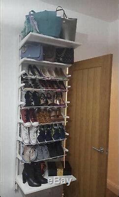 ikea algot wall mounted white metal coated adjustable shoe rack