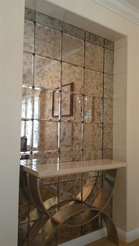 antiqued mirror tiles  rosettes home decor
