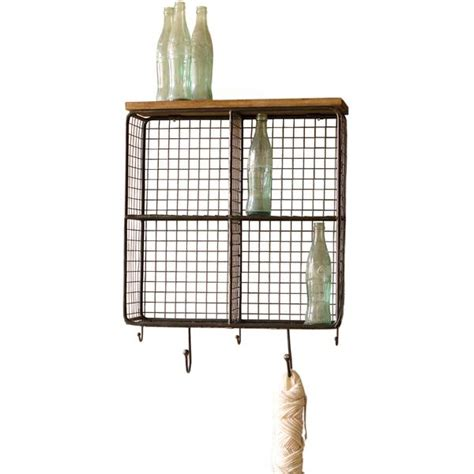 wall cages industrial modern cage wall shelf with hooks woodwaves