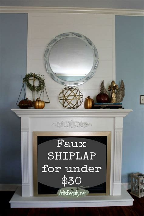 cheap  easy faux ship lap fireplace makeover diy