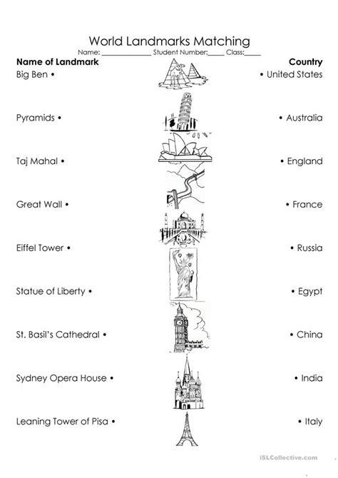 world landmarks triple match worksheet  esl