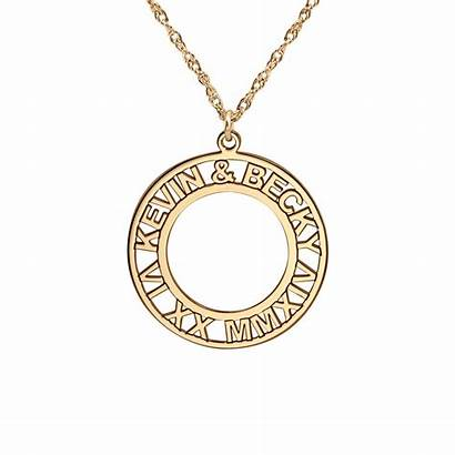 Roman Names Numeral Necklace Anniversary