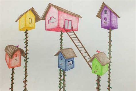 birdhouses   point perspective drawing  coloring art lesson