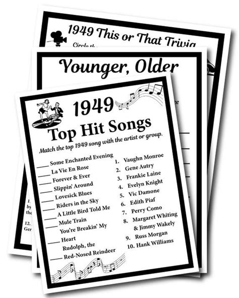 Our pop culture printable party games and trivia are incredibly popular, and our customers are always coming back for more. 1949 Birthday Trivia Game 1949 Birthday Parties Instant | Etsy | 70th birthday party ideas for ...