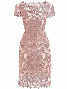 Pink Round Neck Short Sleeve Bodycon Lace Dress | Fall ...