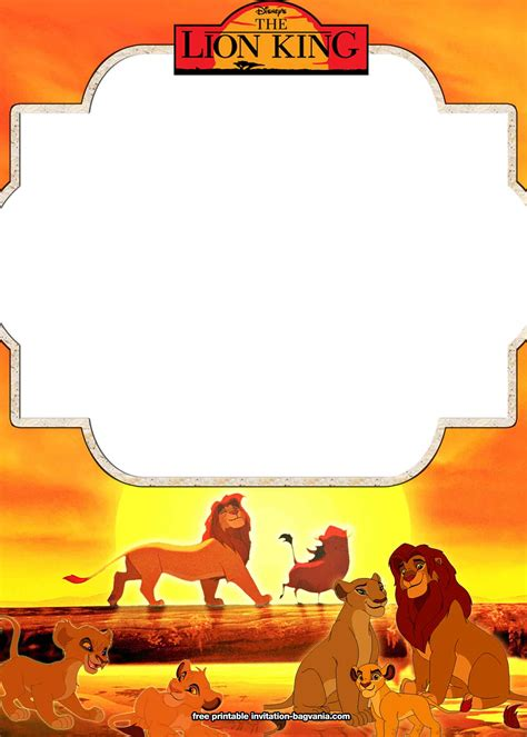 printable lion king invitation templates