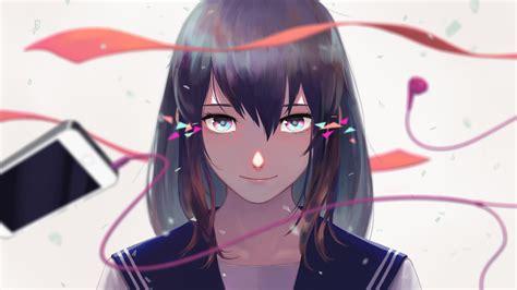 Download 600x1024 Anime Girl, Short Hair, Brown Hair, Face