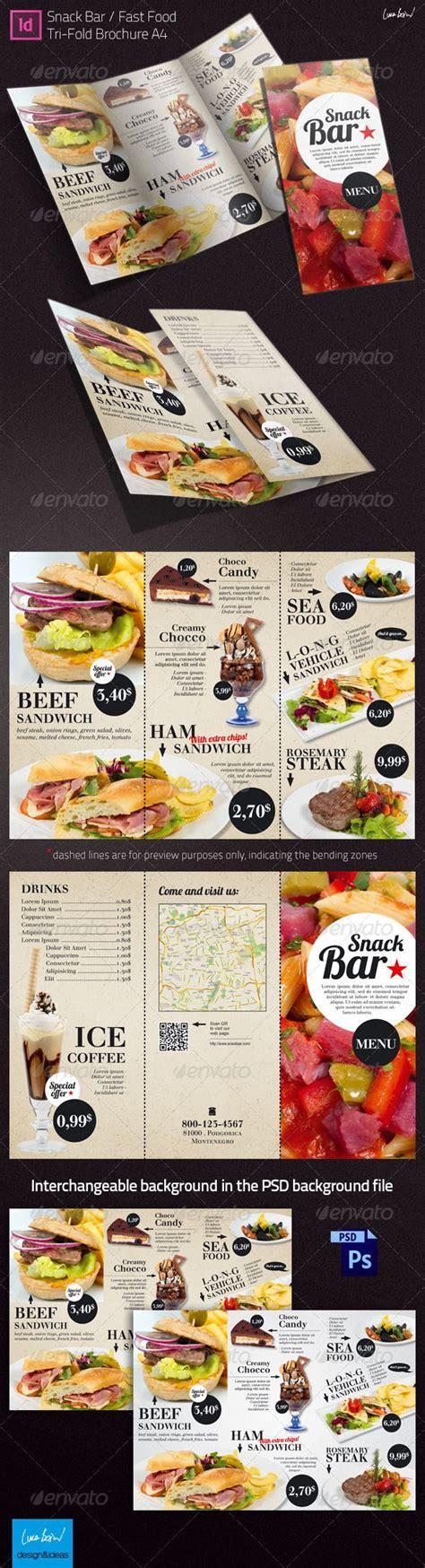 Snack Bar Menu Template by Tri Fold Brochure Snack Bar Menu Restaurant Texts And