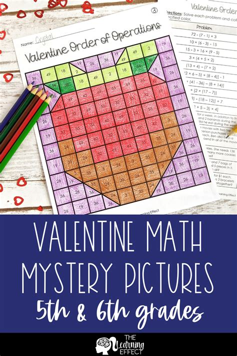 valentine math mystery pictures multiplication division