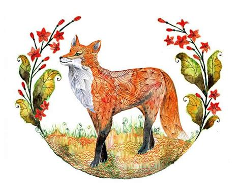Foxy Garden Fox And Flowers Animal Art Print Size 7x5 Hardwood Floors Pinterest Floor New York Cost Of Prefinished Flooring Rug Pads For Hand Scraped Engineered Urine Smell How To Protect From Furniture Bedroom