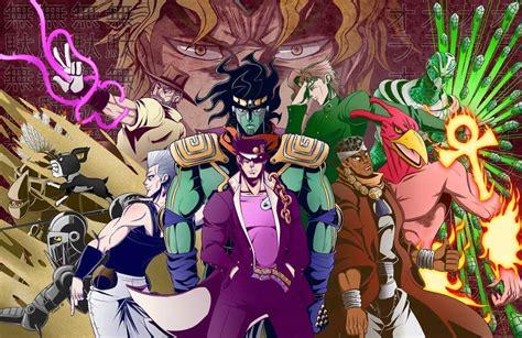 Jojos Adventure All Battle Kujou Jotarou Blue Hair Anime Costume Top 10 Colorful Character Designs Anime Amino