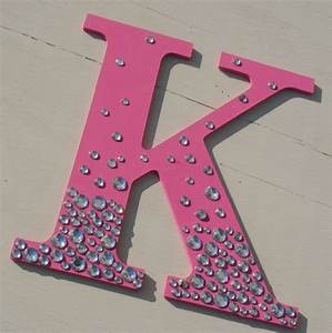 9 hot pink bling sparkle wall letters With hot pink wooden letters
