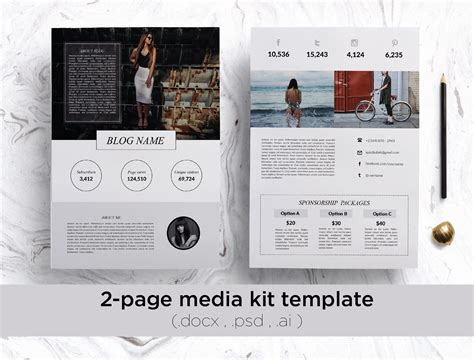 page media kit template social media templates