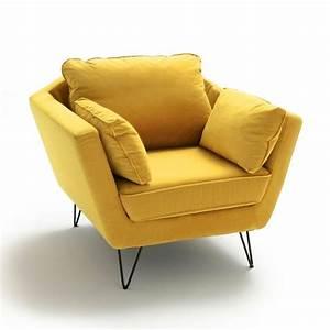 Pouf Jaune Moutarde : fauteuil velours topim jaune moutarde la redoute interieurs la redoute ~ Teatrodelosmanantiales.com Idées de Décoration