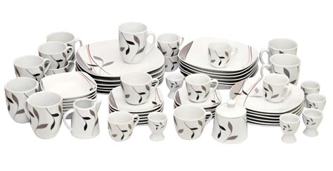 kombiservice 124 teilig kombiservice merano 124 tlg leicht eckig porzellan f 252 r 12 personen wei 223 dekor ebay
