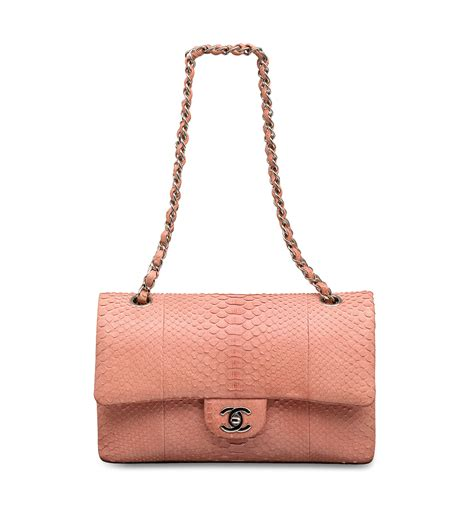 chanel import bag a pale pink python classic medium flap bag with