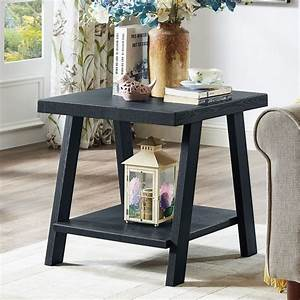 Roundhill, Athens, Contemporary, Replicated, Wood, Shelf, End, Table, In, Black, Finish