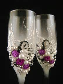 wedding wine glasses gorgeous wedding chagne glasses decorated with fabric roses and pearls in purple