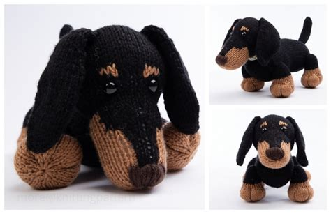 knit toy dachshund dog  knitting patterns knitting