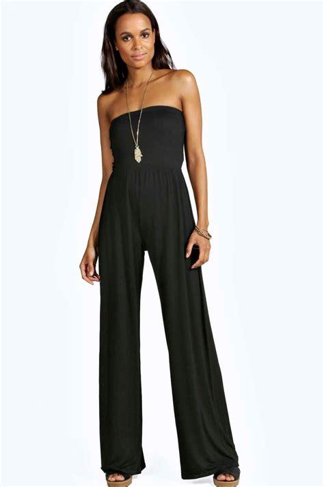 womens jumpsuits boohoo womens meg wide leg bandeau jumpsuit ebay