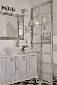 picture of white shabby chic bathroom with an old french