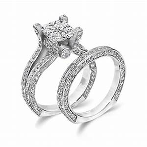 Princess cut cz wedding ring set a closer look at one of for Most popular wedding ring sets