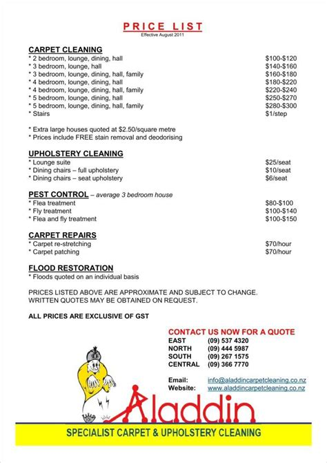 house cleaning pricing spreadsheet db excelcom