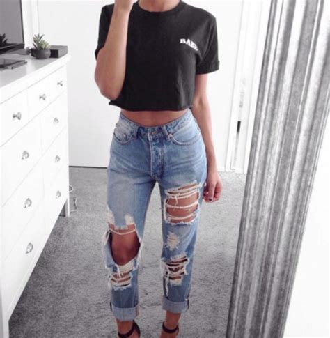 Jeans pants cute tumblr style fashion clothes denim ripped jeans fashion nova ...