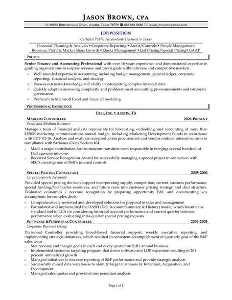 senior accountant resume format accountant pinterest