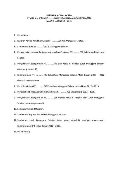 Contoh Pembukaan Berita Acara Rapat by Form Pemilihan Ketua Rt