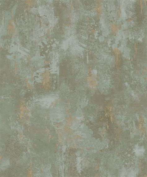 vliestapete stein patina spachtel optik olivgruen gold