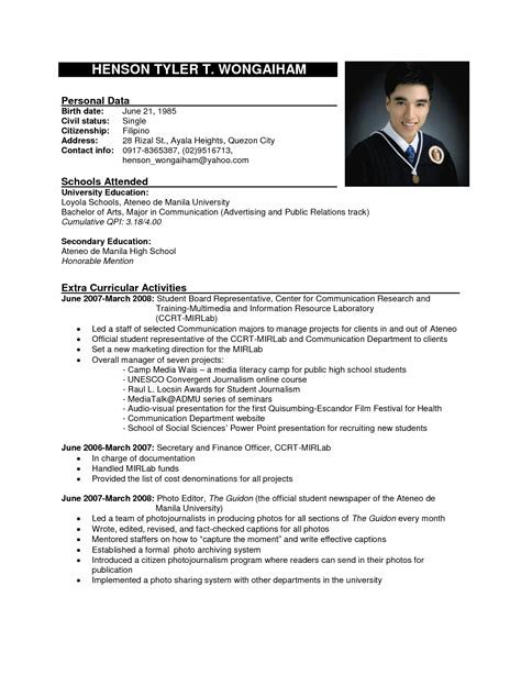 Sle Resume Format For Application by Resume Template Philippines Fee Schedule Template