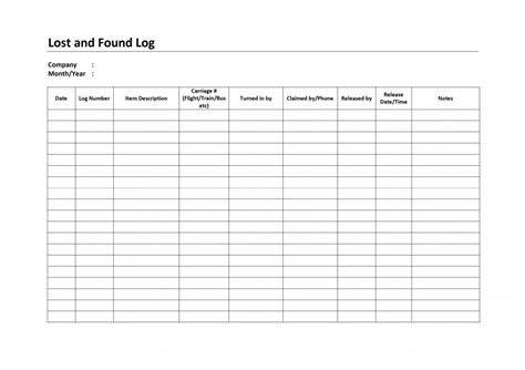 garage invoice template lost and found log