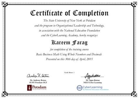 Certificate Programs Free by Using Whole Numbers And Decimals Certificate American