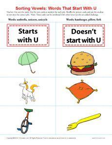 words starting    images vowel worksheets