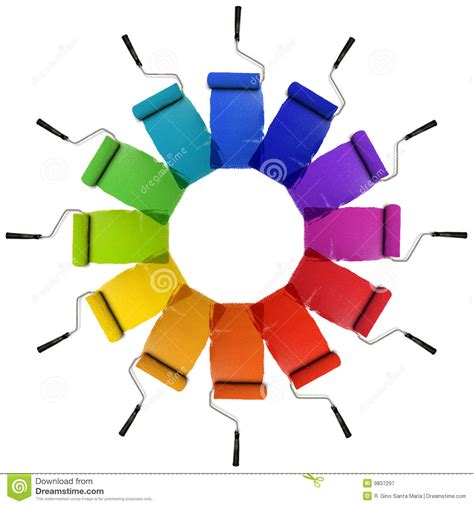 paint rollers with color wheel hues stock image image of