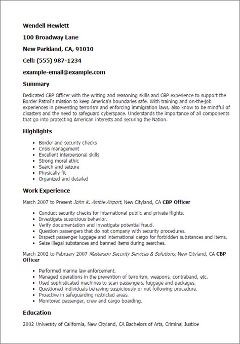 Border Patrol Resume Objective by Professional Cbp Officer Templates To Showcase Your Talent