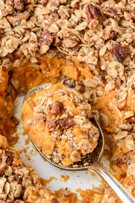 Healthy Sweet Potato Casserole With Pecan Oat Topping