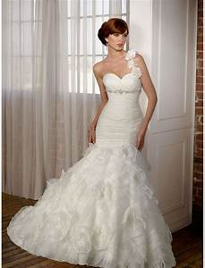 organza ruffled wedding dress with one shoulder strap With one shoulder mermaid wedding dress