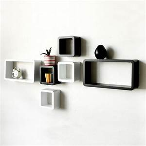 Six Cube Wall Mounted Shelves - Black And White