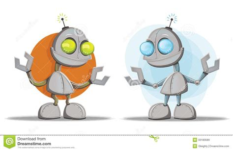 Robot Cartoon Character Mascots Stock Vector
